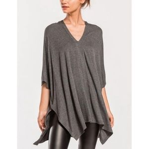 Charcoal over size v-neck poncho tunic